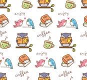 Śliczna sowa cieszy się kawowego bezszwowego wzór ilustracja wektor