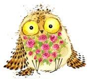 śliczna sowa Sowy akwareli ilustracja Sowy koszulki druk 2007 pozdrowienia karty szczęśliwych nowego roku Obraz Stock