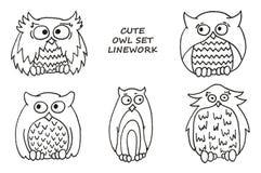 Śliczna sowa ustawiająca - linework Ilustracja dla dzieciaków ilustracja wektor