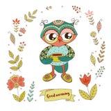 Śliczna sowa z rocznik ramą dla twój projekta w doodle stylu Fotografia Stock