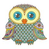 Śliczna sowy ilustracja Ozdobny wzorzysty ptak Obrazek dla barwić Simbol dla drukować royalty ilustracja