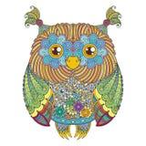 Śliczna sowy ilustracja Ozdobny wzorzysty ptak Obrazek dla barwić Simbol dla drukować ilustracja wektor