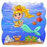 Śliczna syrenka pod wodą royalty ilustracja