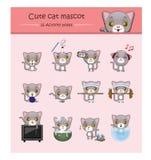 Śliczna szara kot maskotki ilustracja z aktywność pozami Obrazy Stock