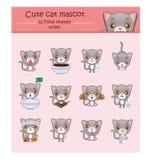 Śliczna szara kot maskotki ilustracja z jedzenie odnosić sie pozami Fotografia Stock