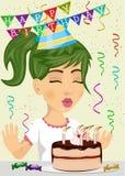 Śliczna szczęśliwa dziewczyna świętuje jej urodzinowego dmuchanie świeczki out na czekolady i śmietanki torcie royalty ilustracja