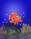 Śliczna szczęśliwa ryba przy dnem ocean kreskówka ilustracja wektor