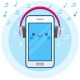 Śliczna szczęśliwa smartphone ikona z dużymi różowymi musicali/lów znakami i hełmofonami Online radio, muzyczny leje się app Obraz Royalty Free