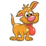 Śliczna szczeniak kreskówki wektoru ilustracja Żółty pies Na białym tle Obrazy Stock