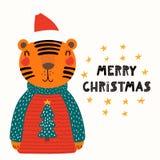 Śliczna tygrysia kartka bożonarodzeniowa ilustracji