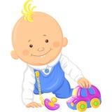 Wektorowa śliczna chłopiec bawić się z zabawkarskim samochodem ilustracji