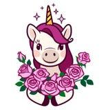 Śliczna uśmiechnięta jednorożec trzyma wiązkę róży kreskówki wektoru prosta ilustracja Kreskowy doodle ikony współczesnego stylu  zdjęcia royalty free