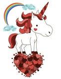 Śliczna uśmiechnięta jednorożec z sercami St walentynki kartka z pozdrowieniami Kawaii istota zdjęcia stock