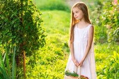 Śliczna uśmiechnięta mała dziewczynka trzyma kosz z owoc i warzywo fotografia royalty free