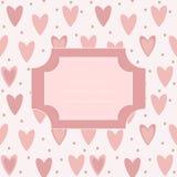 Śliczna unikalna pocztówka z różowymi sercami i kropkami Zdjęcia Royalty Free
