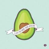 Śliczna valentines dnia karty miłość ty więcej avocado aqua ilustracja wektor