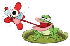 Śliczna wektorowa żaby łasowania i polowania muszka Zdjęcie Royalty Free