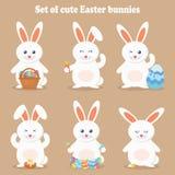 Śliczna wektorowa ilustracja królik Wielkanocny kreskówka królik odizolowywający na brown tle Zdjęcie Royalty Free