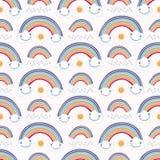 Śliczna wektorowa kreskówki pogoda z deszczem, słońce szczęśliwe chmury royalty ilustracja