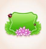 Śliczna wiosny karta z kwiatem, liście, ściga Fotografia Royalty Free