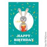 Śliczna wszystkiego najlepszego z okazji urodzin karta z śmiesznymi zwierzętami ilustracja wektor