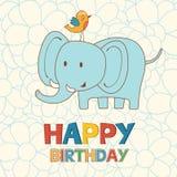 Śliczna wszystkiego najlepszego z okazji urodzin karta z śmiesznym słoniem i ilustracja wektor