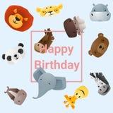 Śliczna wszystkiego najlepszego z okazji urodzin karta z śmiesznymi zwierzętami Obrazy Royalty Free