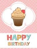 Śliczna wszystkiego najlepszego z okazji urodzin karta z śmietankową babeczką ilustracja wektor