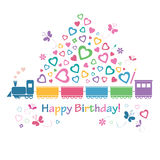 Śliczna wszystkiego najlepszego z okazji urodzin pociągu karta Fotografia Royalty Free