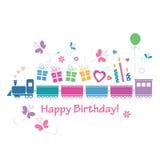 Śliczna wszystkiego najlepszego z okazji urodzin pociągu karta Zdjęcie Royalty Free