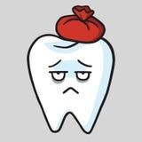 Śliczna ząb kreskówki Toothache wektoru ilustracja ilustracji