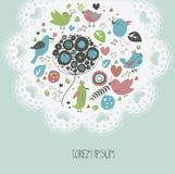 Śliczna zaproszenie karta z ręka rysującymi kwiatami i ptakami Fotografia Royalty Free