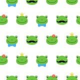 Śliczna zielona żaba z kwiatem, korona, łęk, wąsy postaci z kreskówki kawaii wzór ilustracja wektor