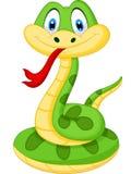Śliczna zielonego węża kreskówka Obrazy Stock