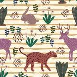 Śliczna zwierzęca ręka rysujący wzór z bezszwowym kolorowym gepardem, królikiem i łosiów amerykańskich rogaczami, royalty ilustracja