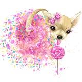 Śliczne cukierki psa koszulki grafika Śmieszna psia ilustracja z pluśnięcie akwarelą textured tło royalty ilustracja