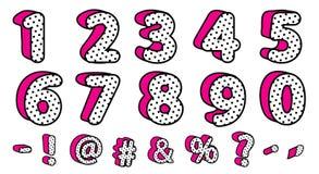 Śliczne czarne polek kropki 3D ustawiać liczby i znaki Wektoru LOL lali niespodzianki girly styl ilustracji