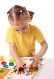 śliczne dziecko ręki malują używać Fotografia Royalty Free