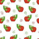 Śliczne gąsienicy z jabłkami bezszwowy wzoru Fotografia Royalty Free