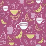 Śliczne herbaciane torby, filiżanka/kubek z Śliczną herbatą puszkują Bezszwowego wzór ilustracja wektor
