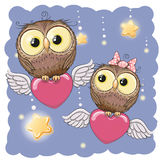 Śliczne kochanek sowy ilustracji