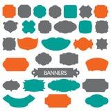 Śliczne kolorowe ramy i sztandary w pomarańcze, zieleń, szarość kolory Obraz Royalty Free