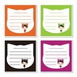 Śliczne kot dziewczyny na kolorowej kot kierowniczej ramy kreskówki ilustraci dla Halloween notatki papieru projekta ilustracji