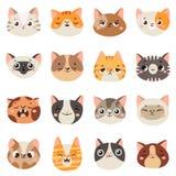 Śliczne kot twarze Szczęśliwi zwierzęta, śmiesznej figlarki uśmiechnięty usta i płakać smutnego kota, Zwierzęcy charakter twarzy  royalty ilustracja