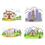 Śliczne kreskowe ikony ilustracji