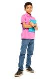 Śliczna czarna chłopiec z pastylka komputerem osobisty Zdjęcia Royalty Free
