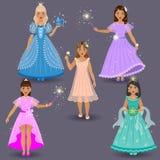 Śliczne Małe czarodziejki i Princesses Zdjęcie Stock