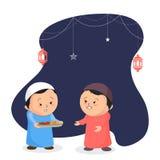 Śliczne małe dziecko ofiary owoc jego przyjaciel, Iftar przyjęcia conce royalty ilustracja