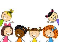 Śliczne małe dziewczynki odizolowywać na bielu ilustracja wektor
