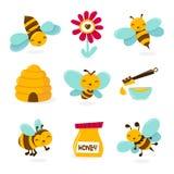 Śliczne Miodowe pszczół ikony ilustracji